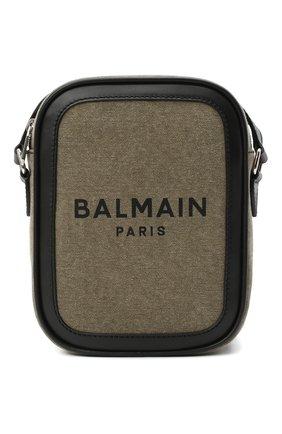Мужская текстильная сумка BALMAIN хаки цвета, арт. VM1S142/TCSY | Фото 1