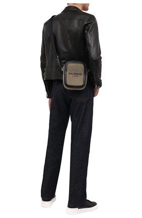 Мужская текстильная сумка BALMAIN хаки цвета, арт. VM1S142/TCSY | Фото 2