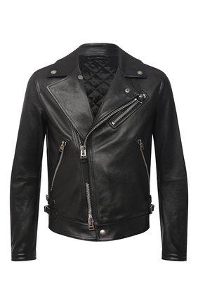Мужская кожаная куртка TOM FORD черного цвета, арт. BW486/TFL827 | Фото 1 (Длина (верхняя одежда): Короткие; Кросс-КТ: Куртка; Материал подклада: Купро; Рукава: Длинные; Стили: Гранж; Мужское Кросс-КТ: Кожа и замша)