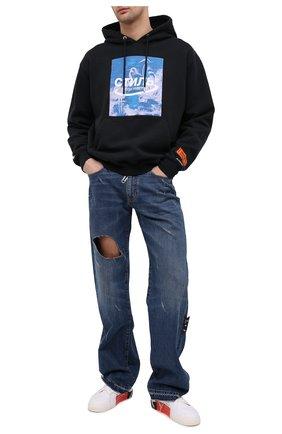 Мужской хлопковое худи HERON PRESTON черного цвета, арт. HMBB015R21JER0011049 | Фото 2 (Принт: С принтом; Материал внешний: Хлопок; Длина (для топов): Стандартные; Стили: Гранж; Мужское Кросс-КТ: Худи-одежда; Рукава: Длинные)