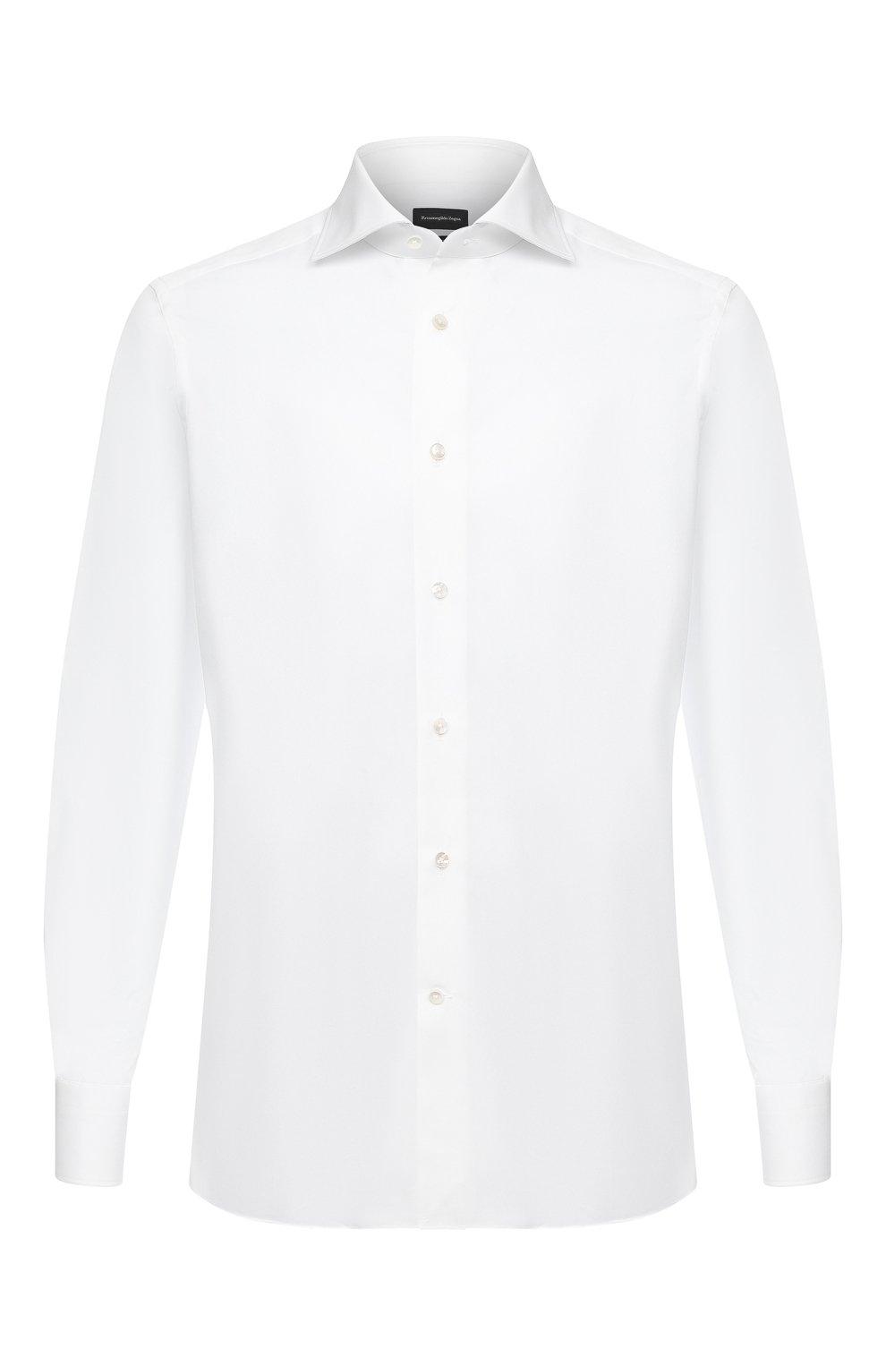Мужская хлопковая сорочка ERMENEGILDO ZEGNA белого цвета, арт. 0T10319MS0BA | Фото 1 (Рукава: Длинные; Рубашки М: Regular Fit; Длина (для топов): Стандартные; Материал внешний: Хлопок; Стили: Классический; Случай: Формальный)