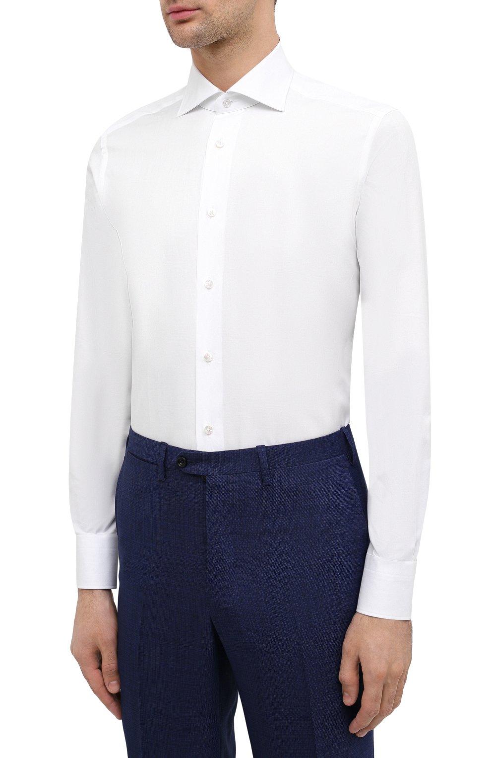 Мужская хлопковая сорочка ERMENEGILDO ZEGNA белого цвета, арт. 0T10319MS0BA | Фото 3 (Рукава: Длинные; Рубашки М: Regular Fit; Длина (для топов): Стандартные; Материал внешний: Хлопок; Стили: Классический; Случай: Формальный)