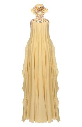 Женское шелковое платье CHLOÉ желтого цвета, арт. CHC20WR066002   Фото 1