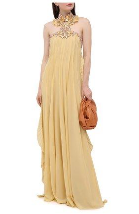 Женское шелковое платье CHLOÉ желтого цвета, арт. CHC20WR066002   Фото 2
