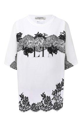 Женская хлопковая футболка VALENTINO белого цвета, арт. VB3MG11B66C | Фото 1