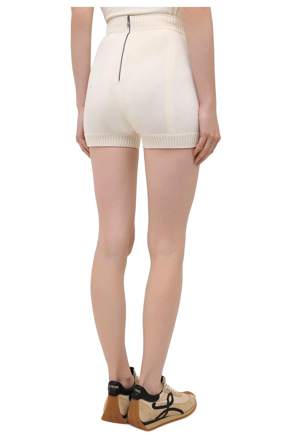 Женские шерстяные шорты DOLCE & GABBANA белого цвета, арт. FXA91T/JAV42   Фото 4 (Женское Кросс-КТ: Шорты-одежда; Материал внешний: Шерсть; Длина Ж (юбки, платья, шорты): Мини; Стили: Кэжуэл)