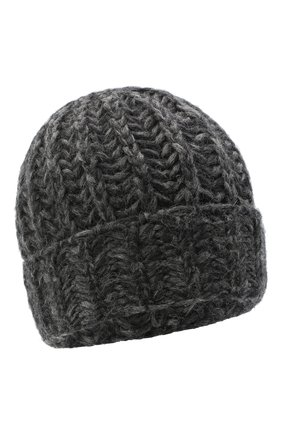 Женская шерстяная шапка BILANCIONI темно-серого цвета, арт. 4898CM   Фото 1 (Материал: Шерсть)