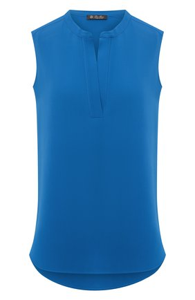 Женский шелковый топ LORO PIANA синего цвета, арт. FAL0549 | Фото 1