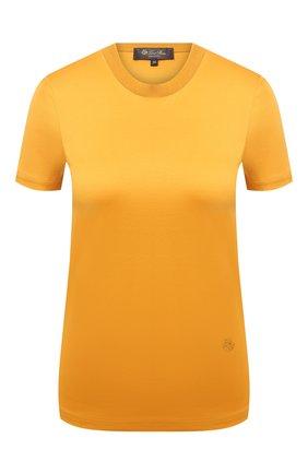Женская хлопковая футболка LORO PIANA желтого цвета, арт. FAI5069 | Фото 1