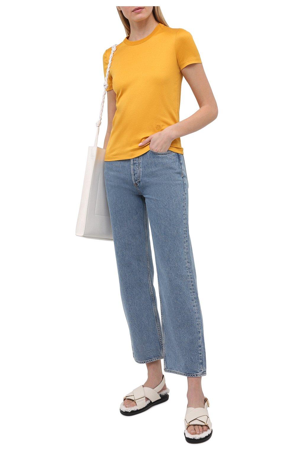 Женская хлопковая футболка LORO PIANA желтого цвета, арт. FAI5069   Фото 2