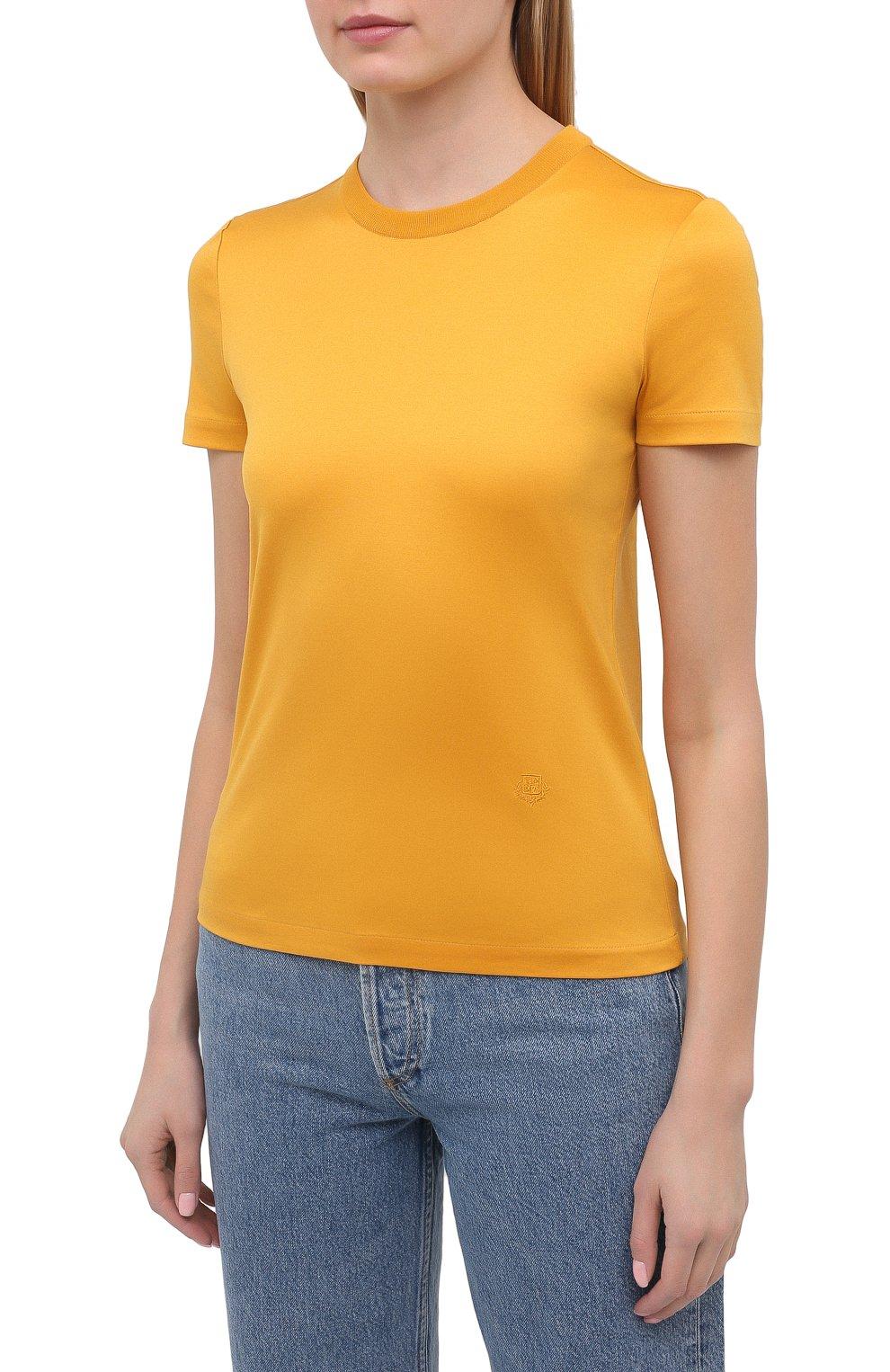 Женская хлопковая футболка LORO PIANA желтого цвета, арт. FAI5069   Фото 3