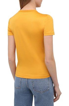 Женская хлопковая футболка LORO PIANA желтого цвета, арт. FAI5069   Фото 4