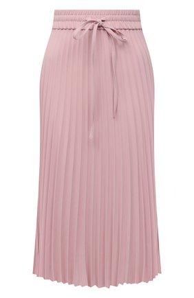 Женская плиссированная юбка REDVALENTINO светло-розового цвета, арт. VR3RAB85/4RA   Фото 1 (Женское Кросс-КТ: Юбка-одежда, юбка-плиссе; Стили: Романтичный; Материал внешний: Синтетический материал; Длина Ж (юбки, платья, шорты): Миди)