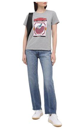 Женская хлопковая футболка REDVALENTINO серого цвета, арт. VR3MG09M/5Q4 | Фото 2
