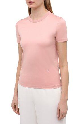 Женская хлопковая футболка LORO PIANA розового цвета, арт. FAI5069   Фото 3