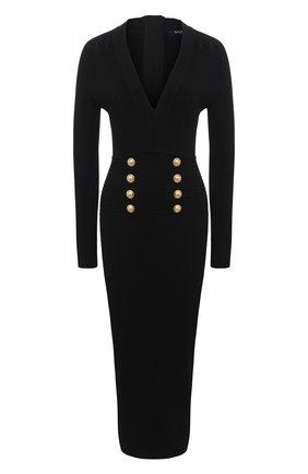 Женское платье из вискозы BALMAIN черного цвета, арт. VF16644/K211 | Фото 1