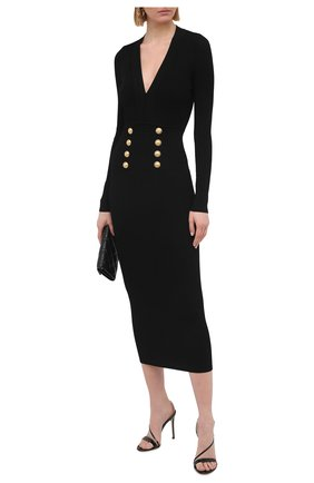 Женское платье из вискозы BALMAIN черного цвета, арт. VF16644/K211 | Фото 2
