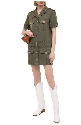 Женское хлопковое платье BALMAIN хаки цвета, арт. VF16154/D086 | Фото 2