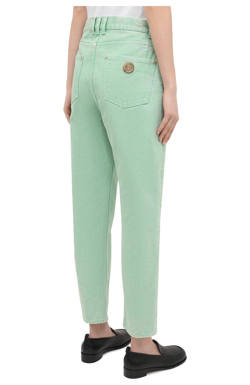 Женские джинсы BALMAIN светло-зеленого цвета, арт. VF15700/D090 | Фото 4