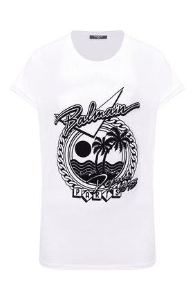 Женская хлопковая футболка BALMAIN черно-белого цвета, арт. VF11351/B507 | Фото 1