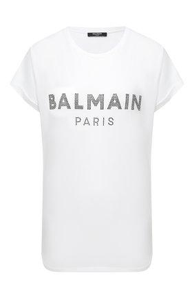 Женская хлопковая футболка BALMAIN белого цвета, арт. VF11351/B011   Фото 1