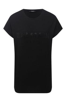 Женская хлопковая футболка BALMAIN черного цвета, арт. VF11351/B011 | Фото 1