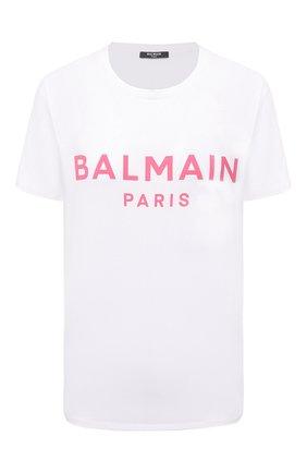 Женская хлопковая футболка BALMAIN белого цвета, арт. VF11350/B019 | Фото 1