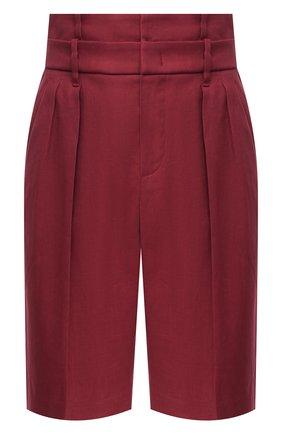 Женские шорты из хлопка и льна BRUNELLO CUCINELLI бордового цвета, арт. MF591P7593 | Фото 1