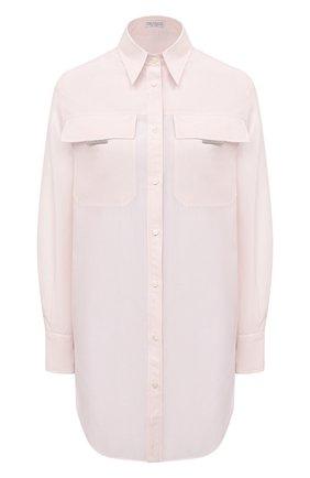 Женская рубашка из хлопка и шелка BRUNELLO CUCINELLI розового цвета, арт. MF766MQ306 | Фото 1