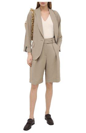 Женские шорты из вискозы и льна BRUNELLO CUCINELLI бежевого цвета, арт. MH126P7612 | Фото 2