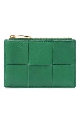 Женский кожаный футляр для кредитных карт BOTTEGA VENETA зеленого цвета, арт. 651393/VCQC4   Фото 1