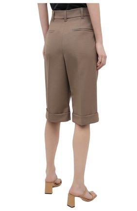 Женские шерстяные шорты BRUNELLO CUCINELLI темно-бежевого цвета, арт. MA171P7322   Фото 4 (Женское Кросс-КТ: Шорты-одежда; Материал внешний: Шерсть; Кросс-КТ: Широкие; Длина Ж (юбки, платья, шорты): До колена; Стили: Кэжуэл)