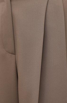 Женские шерстяные шорты BRUNELLO CUCINELLI темно-бежевого цвета, арт. MA171P7322   Фото 5 (Женское Кросс-КТ: Шорты-одежда; Материал внешний: Шерсть; Кросс-КТ: Широкие; Длина Ж (юбки, платья, шорты): До колена; Стили: Кэжуэл)