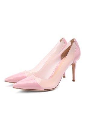 Женские комбинированные туфли plexi 85 GIANVITO ROSSI розового цвета, арт. G20938.85RIC.VGLGLGZ   Фото 1