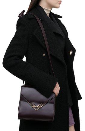 Женская сумка clip BOTTEGA VENETA темно-фиолетового цвета, арт. 652391/V0I42 | Фото 2 (Ремень/цепочка: На ремешке; Сумки-технические: Сумки через плечо; Размер: small; Материал: Натуральная кожа)