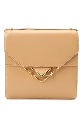 Женская сумка clip BOTTEGA VENETA бежевого цвета, арт. 652391/V0I42   Фото 1 (Ремень/цепочка: На ремешке; Размер: small; Сумки-технические: Сумки через плечо; Материал: Натуральная кожа)
