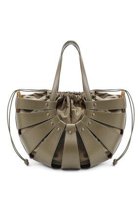 Женская сумка shell medium BOTTEGA VENETA серого цвета, арт. 651577/VMAUH | Фото 1 (Материал: Натуральная кожа; Сумки-технические: Сумки top-handle; Размер: medium)