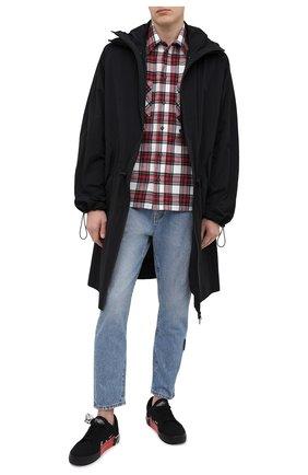 Мужская хлопковая рубашка OFF-WHITE красного цвета, арт. 0MGA133R21FAB002   Фото 2