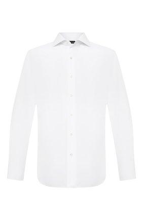 Мужская хлопковая сорочка TOM FORD белого цвета, арт. QFT690/94S3AX | Фото 1 (Длина (для топов): Стандартные; Воротник: Акула; Случай: Формальный; Стили: Классический; Принт: Однотонные; Рубашки М: Slim Fit; Рукава: Длинные; Манжеты: На пуговицах; Материал внешний: Хлопок)