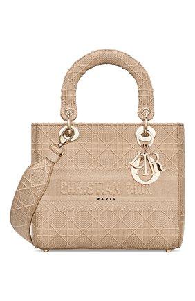 Женская сумка lady d-lite medium DIOR бежевого цвета, арт. M0565OREYM919   Фото 1