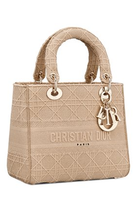 Женская сумка lady d-lite medium DIOR бежевого цвета, арт. M0565OREYM919   Фото 2