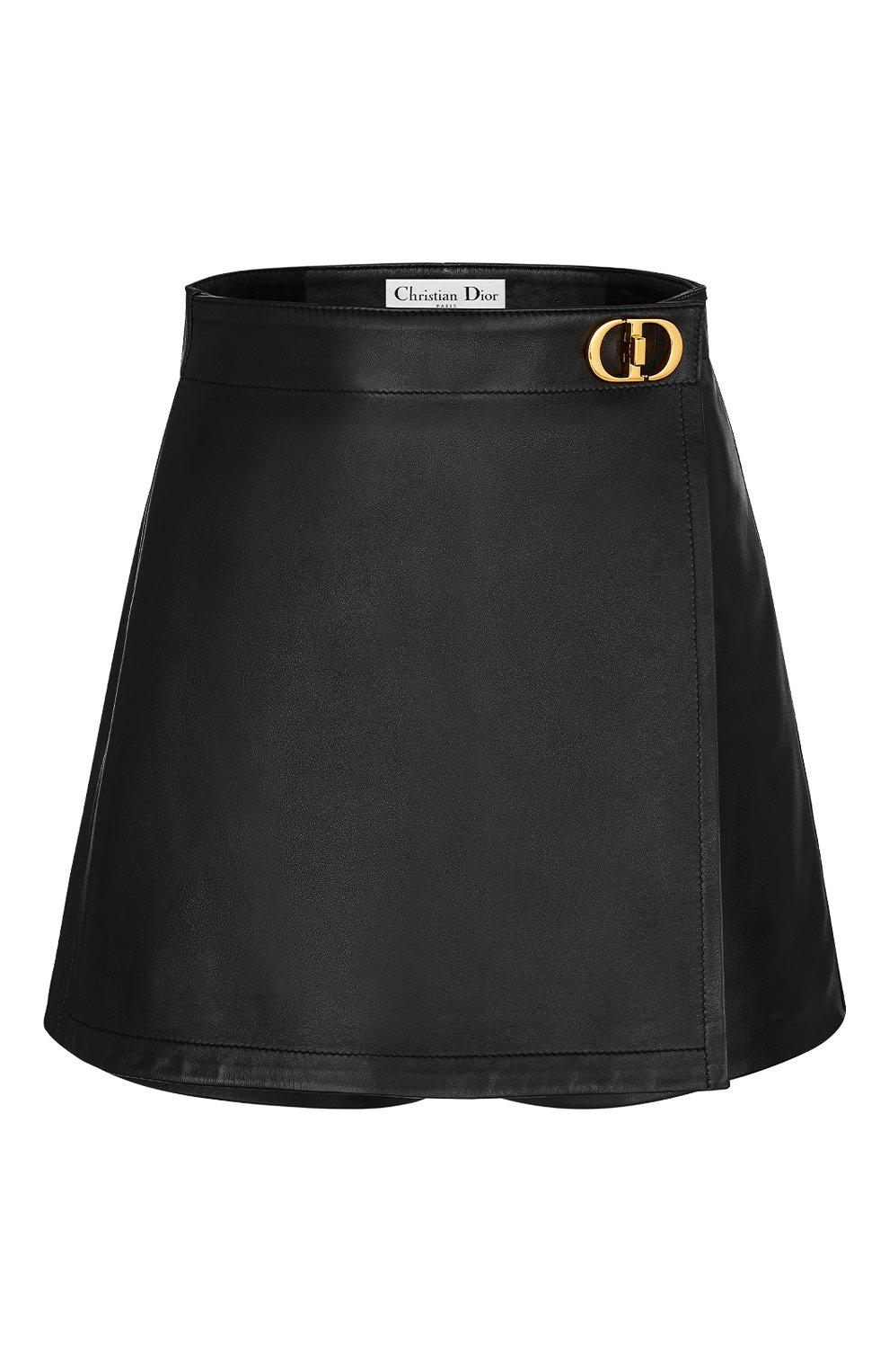 Женские кожаные шорты DIOR черного цвета, арт. 045P45AL015X9000   Фото 1 (Женское Кросс-КТ: Шорты-одежда; Длина Ж (юбки, платья, шорты): Мини; Стили: Гранж)