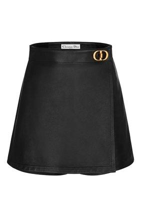 Женские кожаные шорты DIOR черного цвета, арт. 045P45AL015X9000 | Фото 1