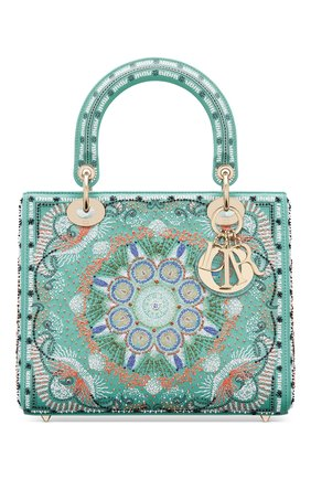 Женская сумка lady dior medium DIOR бирюзового цвета, арт. M0565OSAQM917   Фото 1