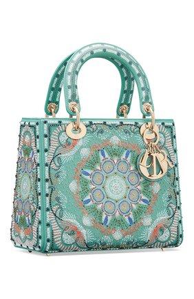 Женская сумка lady dior medium DIOR бирюзового цвета, арт. M0565OSAQM917   Фото 2