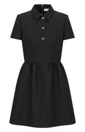Женское платье из смеси шерсти и шелка DIOR черного цвета, арт. 111R07A1166X9000   Фото 1