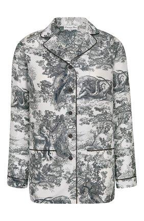 Женская шелковая рубашка DIOR темно-синего цвета, арт. 111V33A6805X0861 | Фото 1