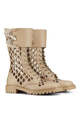 Женские кожаные ботинки d-trap DIOR бежевого цвета, арт. KCI601CFMS16T | Фото 2