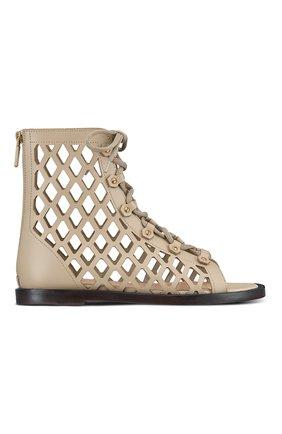Женские кожаные сандалии d-trap DIOR бежевого цвета, арт. KCQ489CFMS16T   Фото 1