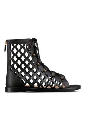 Женские кожаные сандалии d-trap DIOR черного цвета, арт. KCQ489CFMS900   Фото 1